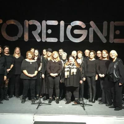 The Tower Chorale performing with Foreigner | Group shot