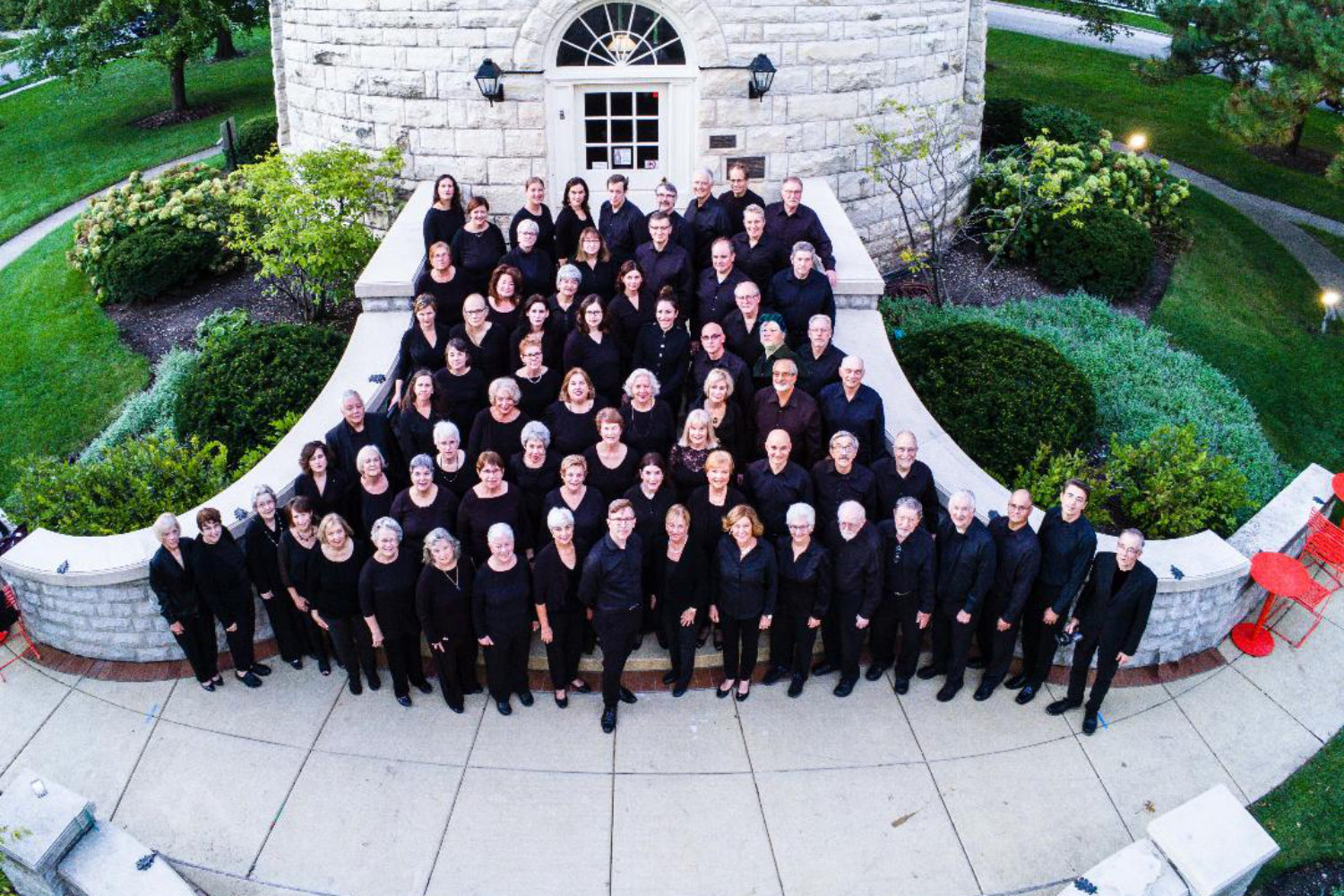 The Tower Chorale group photo taken by a drone